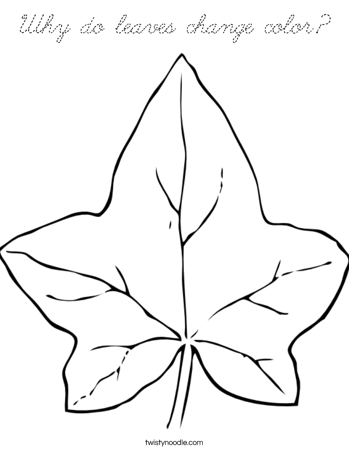 Why do leaves change color coloring page cursive for Change color page