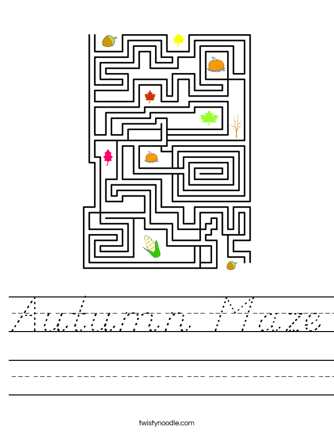Autumn Maze Worksheet