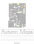 Autumn Maze Handwriting Sheet