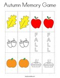 Autumn Memory Game Coloring Page