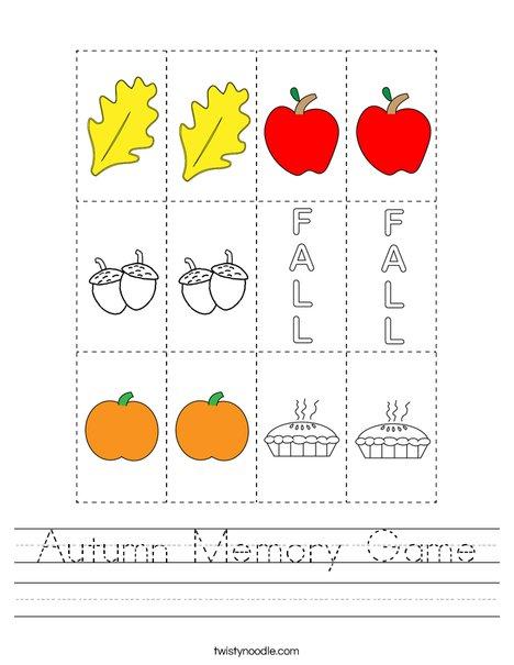 Autumn Memory Game Worksheet