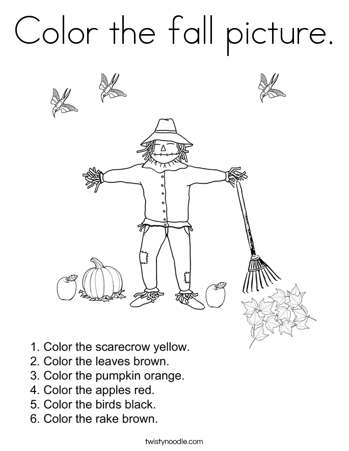 Color the fall picture. Coloring Page