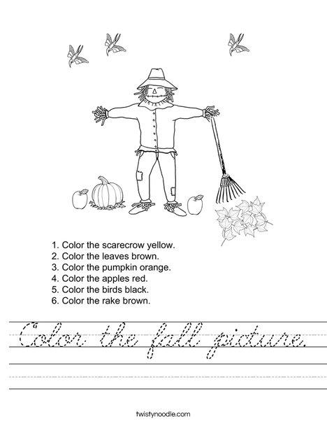 Autumn Picture Worksheet