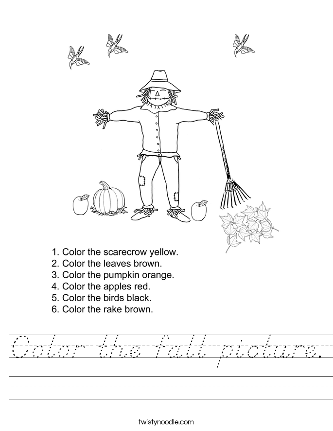 Color the fall picture. Worksheet
