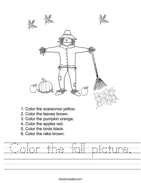 Autumn Picture Worksheet