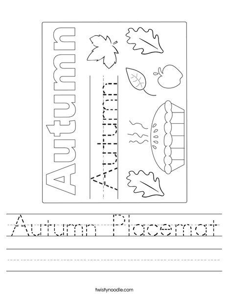 Autumn Placemat Worksheet