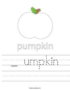 _ umpkin Handwriting Sheet
