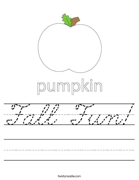Fall Fun Worksheet Cursive Twisty Noodle
