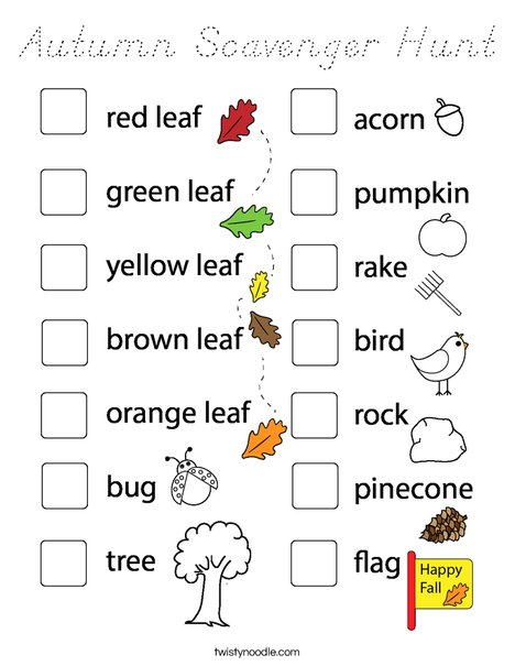 Autumn Scavenger Hunt Coloring Page