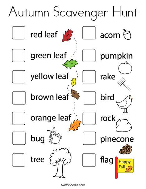 Autumn Scavenger Hunt Coloring Page