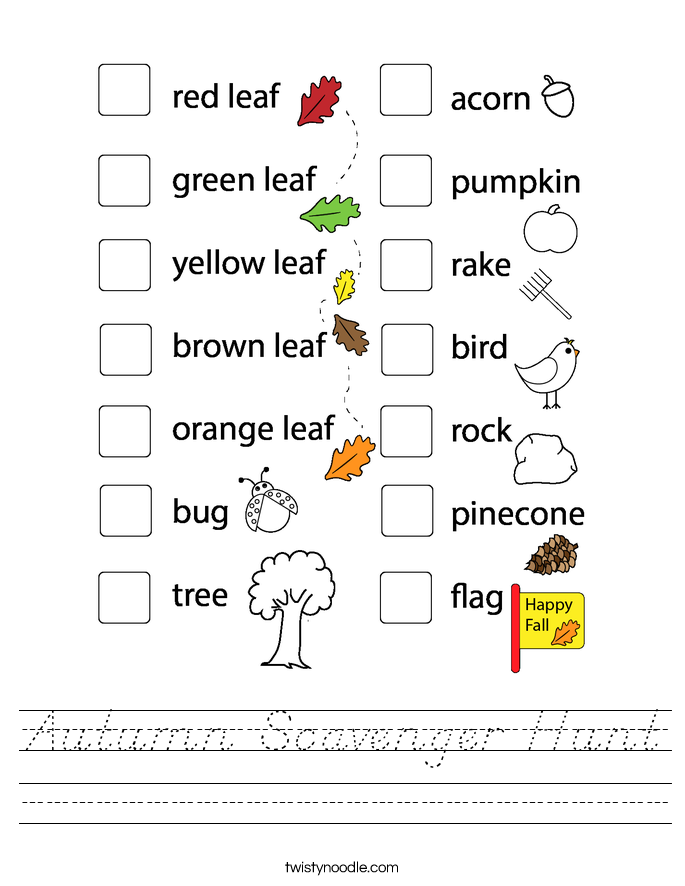 Autumn Scavenger Hunt Worksheet