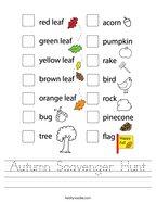 Autumn Scavenger Hunt Handwriting Sheet