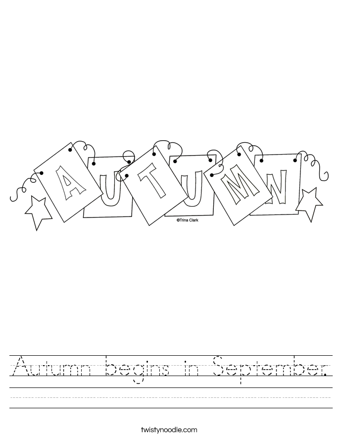 Autumn begins in September. Worksheet
