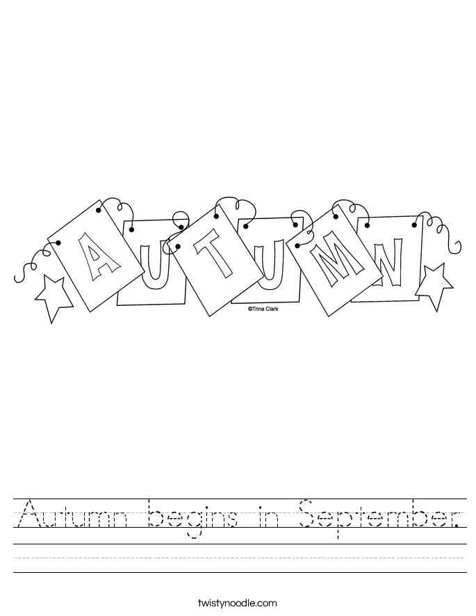 Autumn begins in September. Worksheet