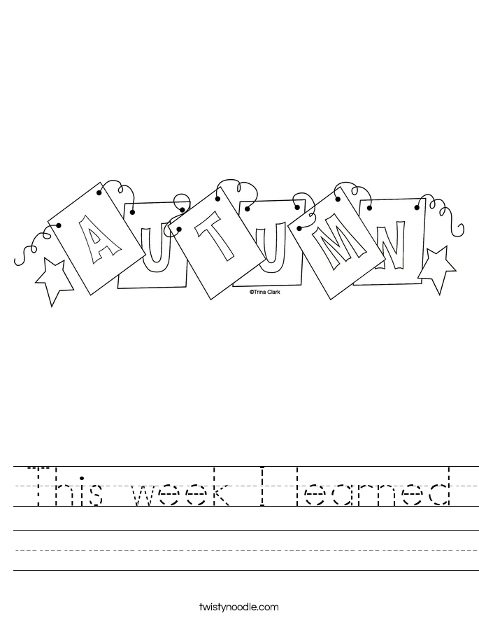 This week I learned Worksheet