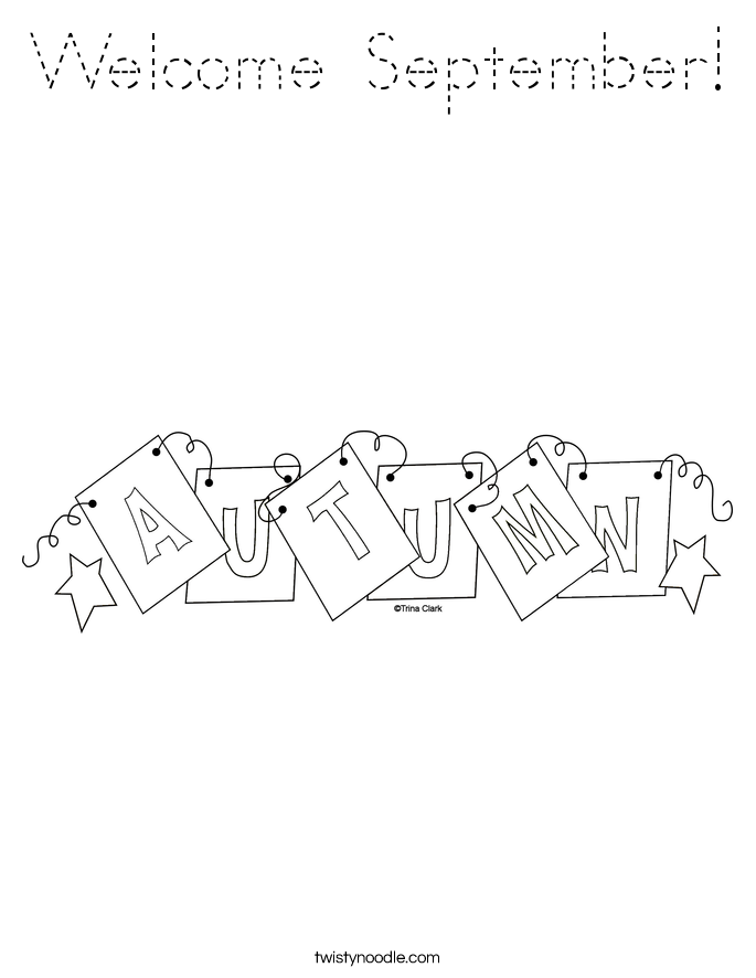 Welcome September! Coloring Page