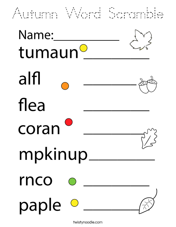 Autumn Word Scramble Coloring Page