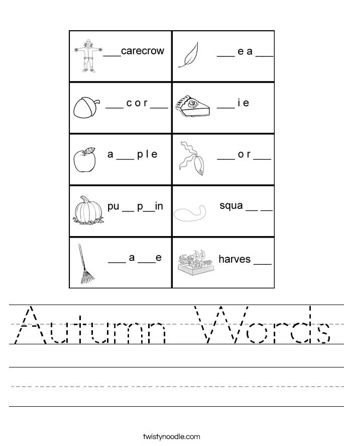 Autumn Words Worksheet