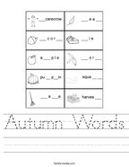 Autumn Words Handwriting Sheet