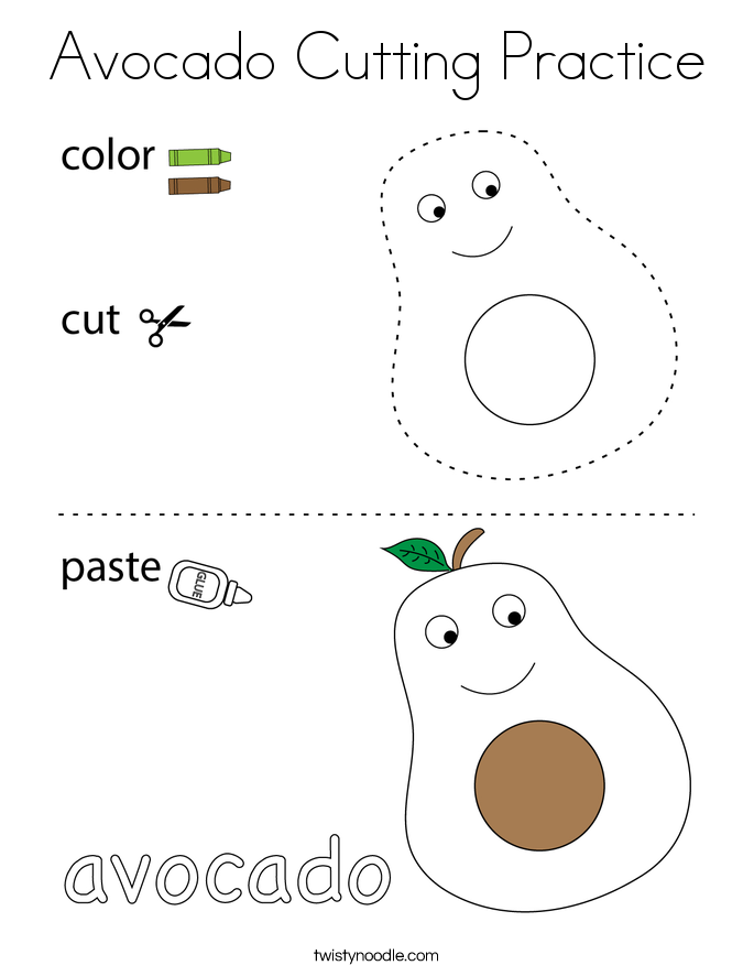Avocado Cutting Practice Coloring Page