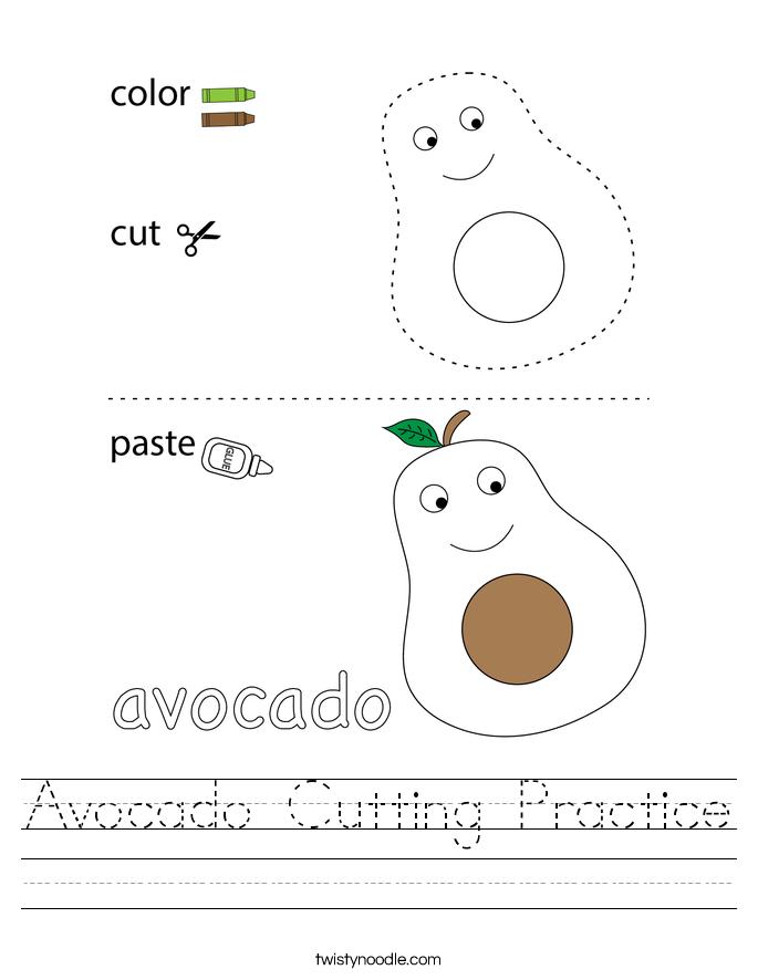 Avocado Cutting Practice Worksheet
