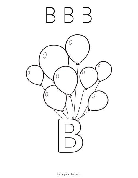 B Balloons Coloring Page