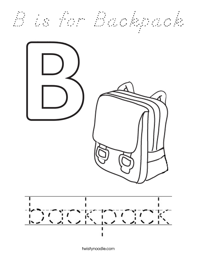 B is for Backpack Coloring Page