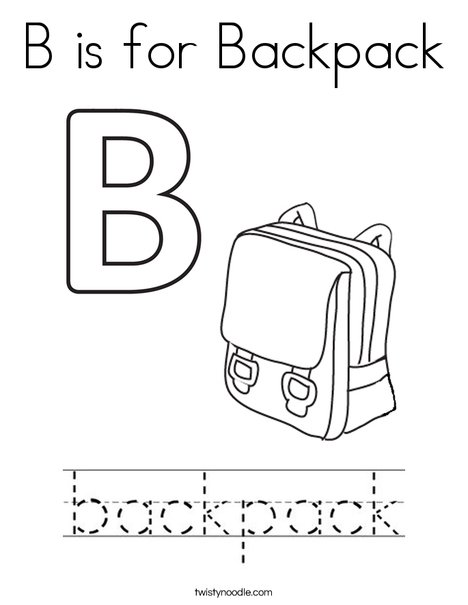 B is for Backpack Coloring Page Twisty Noodle
