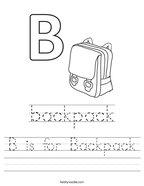 B is for Backpack Handwriting Sheet