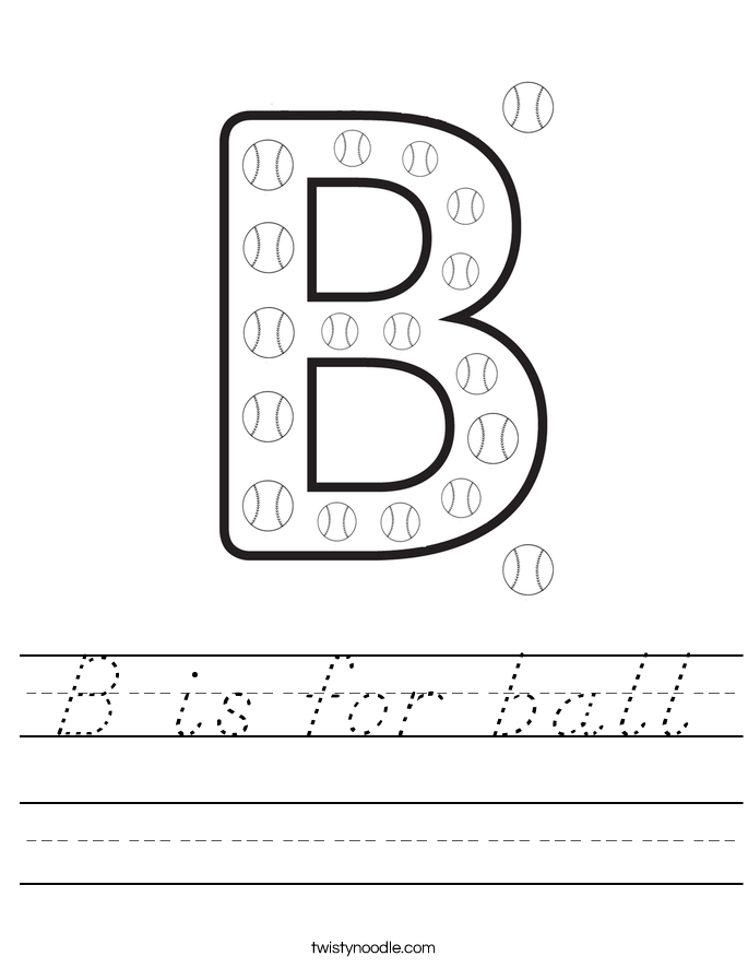 b is for ball worksheet d 39 nealian twisty noodle. Black Bedroom Furniture Sets. Home Design Ideas