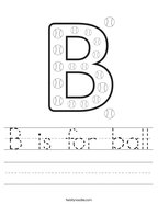 B is for ball Handwriting Sheet