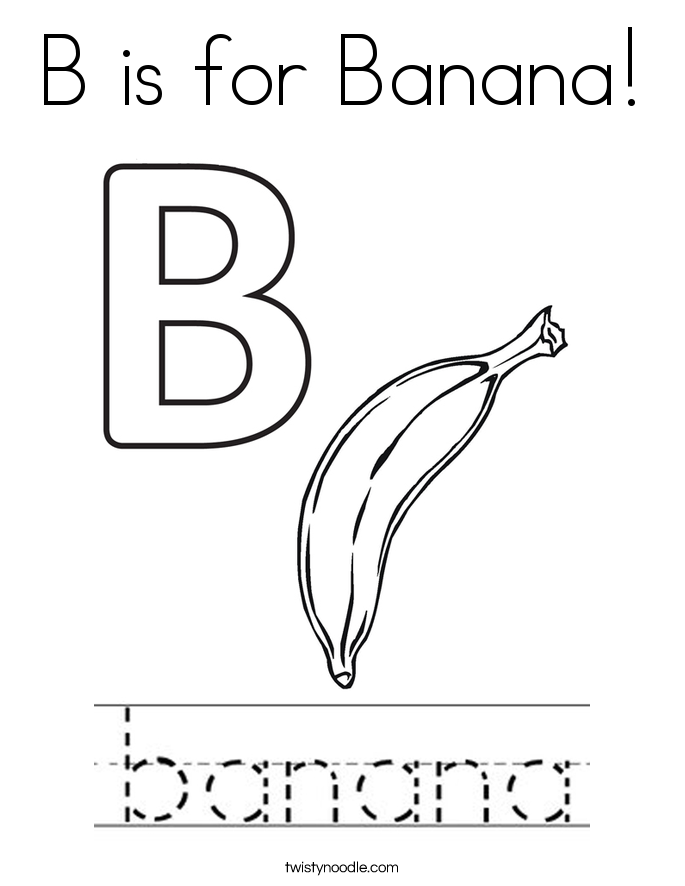 B is for Banana! Coloring Page