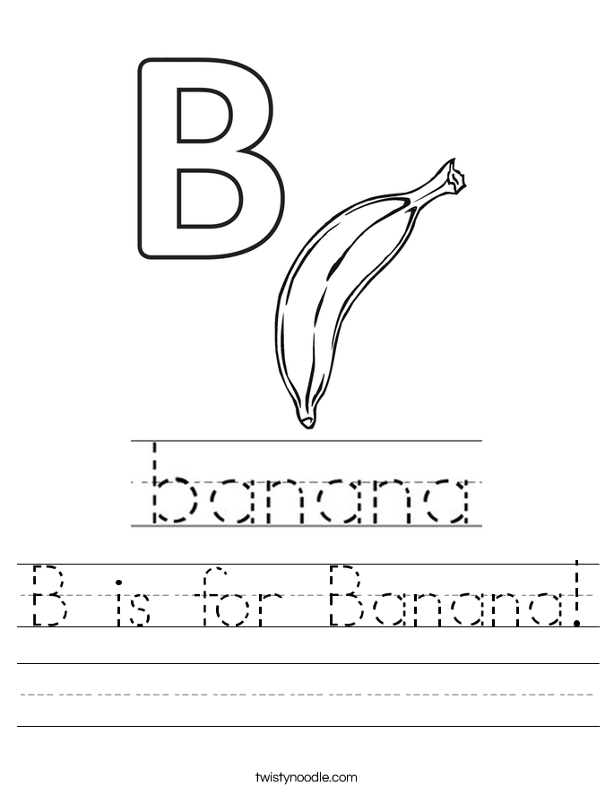 B is for Banana! Worksheet