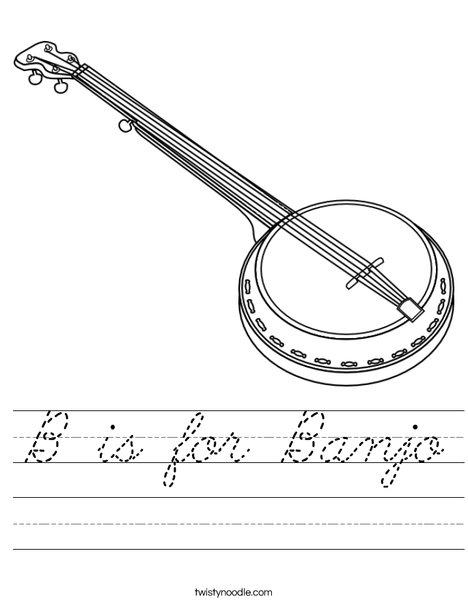B is for Banjo Worksheet