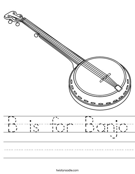 B is for Banjo Worksheet
