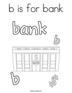 b is for bank Coloring Page