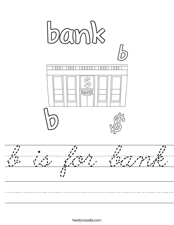 b is for bank worksheet cursive twisty noodle. Black Bedroom Furniture Sets. Home Design Ideas