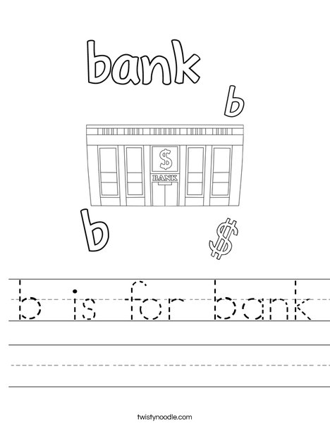 B is for Bank Worksheet
