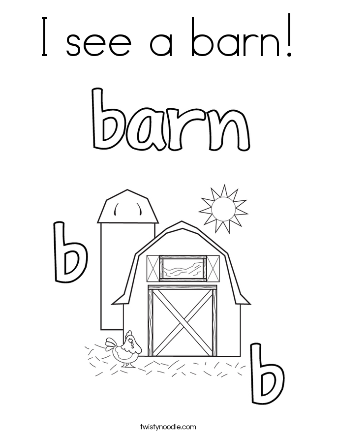 I see a barn! Coloring Page