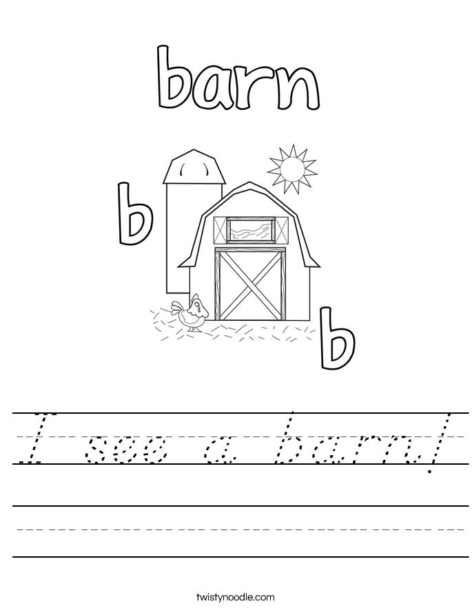 I see a barn! Worksheet