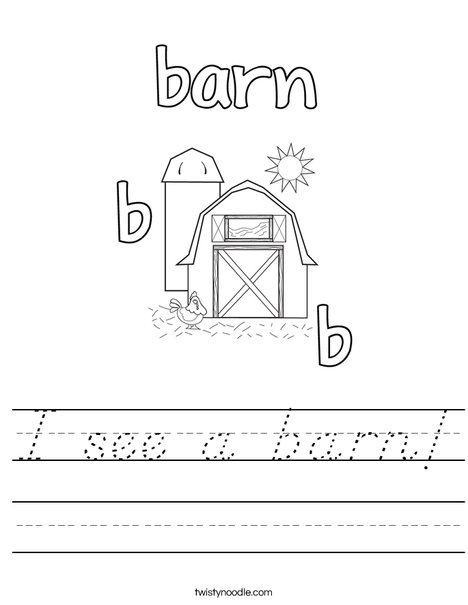 b is for barn Worksheet