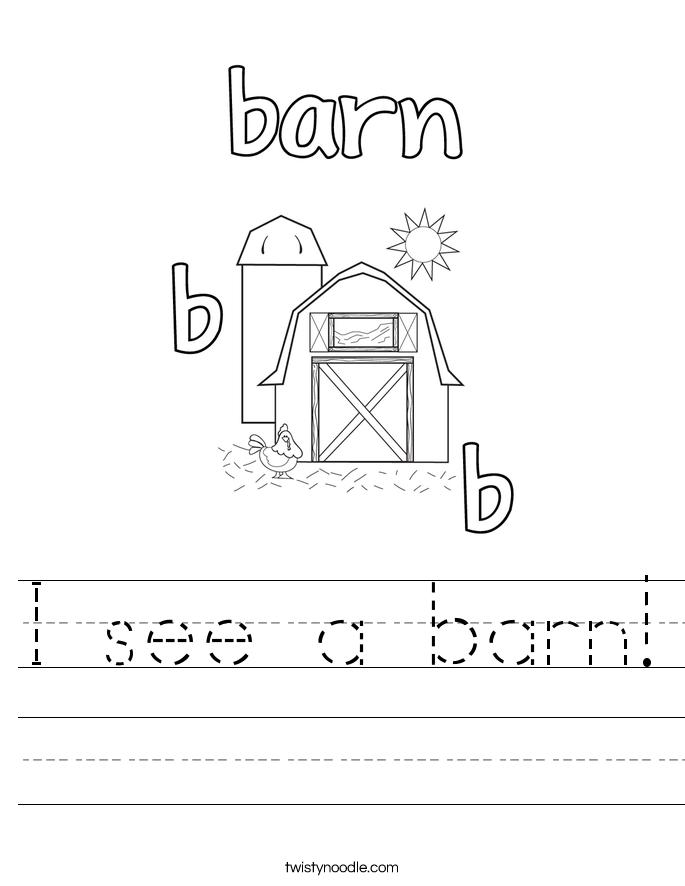 I see a barn! Worksheet