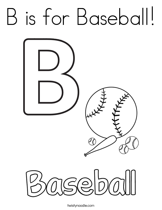 B is for Baseball! Coloring Page