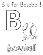 B is for Baseball Coloring Page