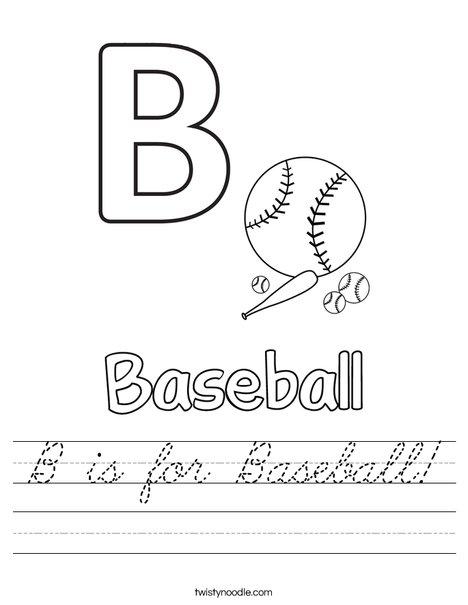 B is for baseball Worksheet