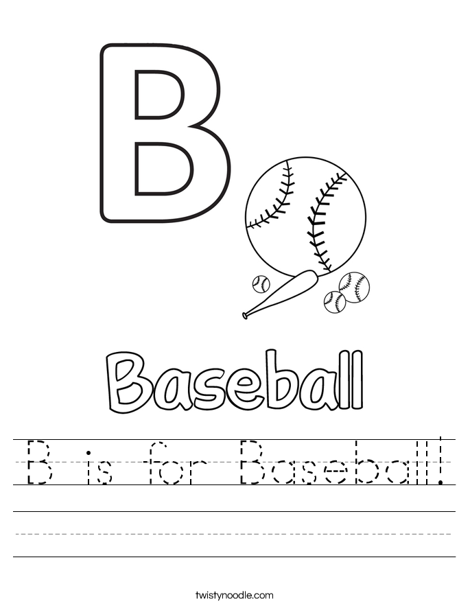 baseball coloring pages for preschoolers | B is for Baseball Worksheet - Twisty Noodle