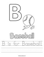 B is for Baseball Handwriting Sheet