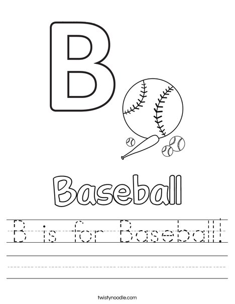 B is for baseball Worksheet