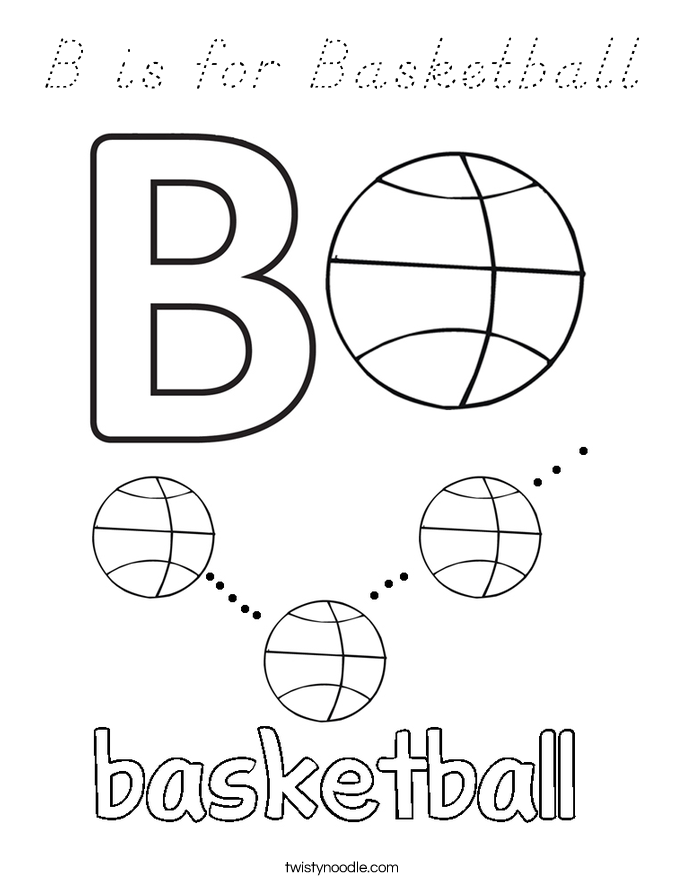 B is for Basketball Coloring Page