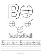 B is for Basketball Handwriting Sheet